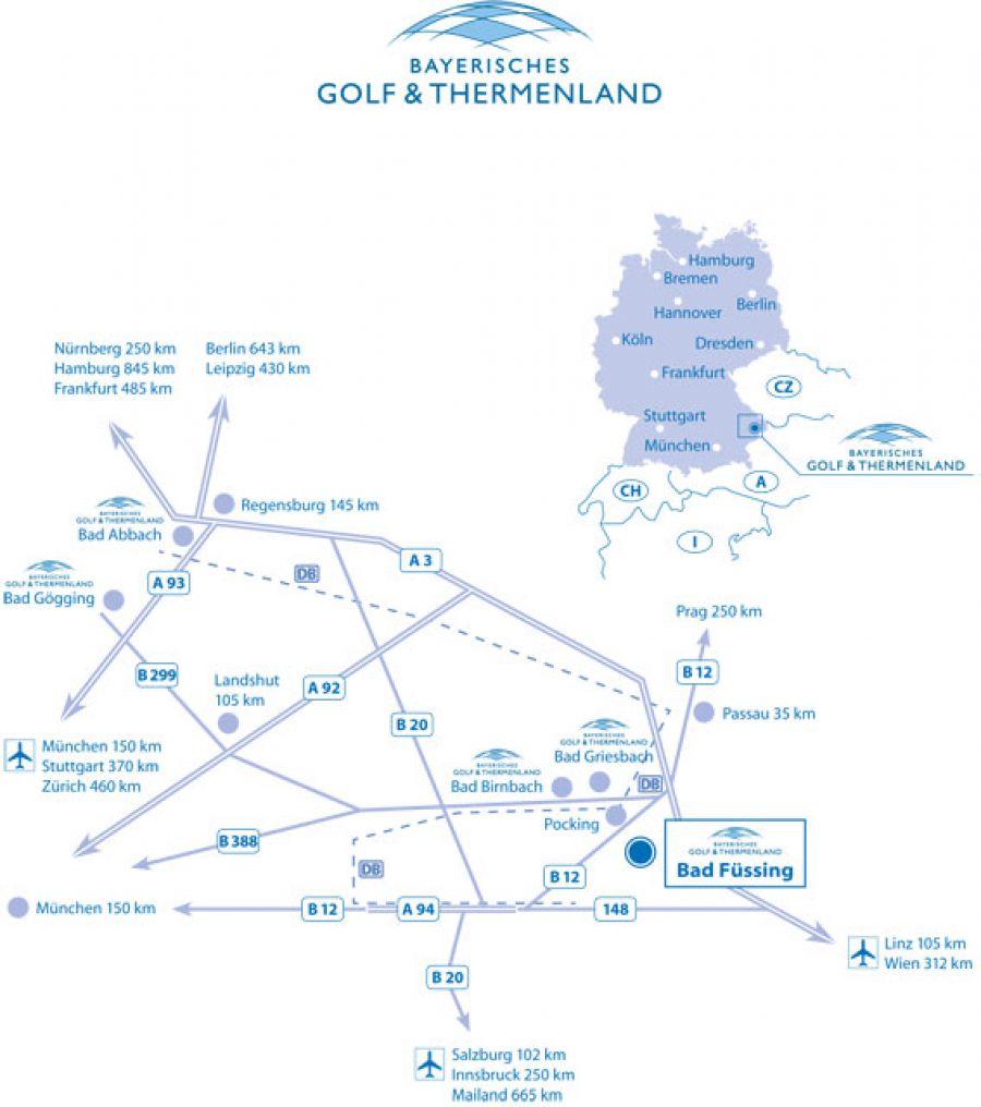 Karte Bayerisches Golf und Thermenland