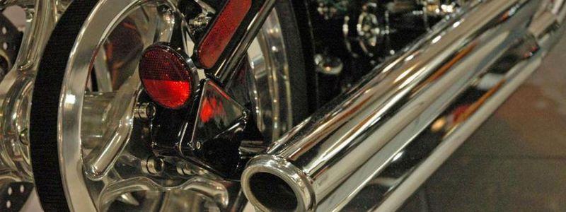 Nahaufnahme Auspuff Motorrad